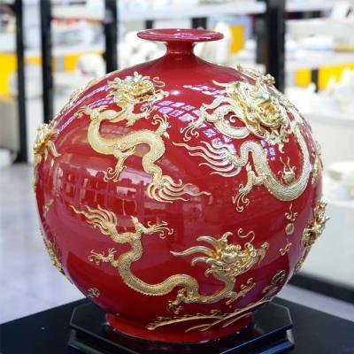 中国龙红色镶金betway必威官网登录瓶